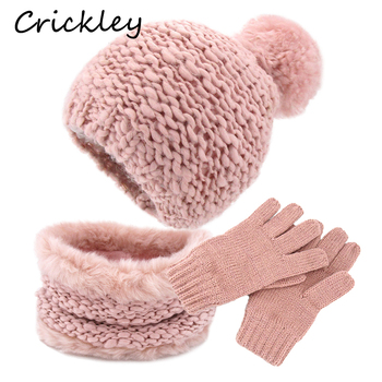Cotton Knitting Kids Hats for Girls Cute Fur Pompoms Solid Winter Thickening Windproof Caps Fashion Warm Children Three-piece 3 6t russia winter keeps warm snow kids girls clothes big fur hats down romper girls catsuit outdoor overalls for boy kids