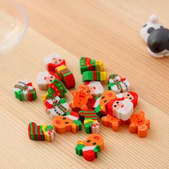 20PCS Christmas Gifts Santa Claus Snowman Eraser Transparent Packaging Ballpoint Pen Writing Eraser Children's Christmas Gift 21
