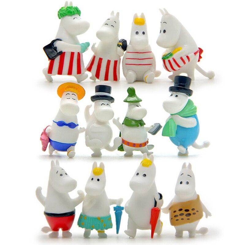 12 Pc Dollhouse Puzzle Cascade Hippopotamus Family Miniature Figures Jenga Micro Layer DIY Landscape PVC Model Creative Toy Gift-1