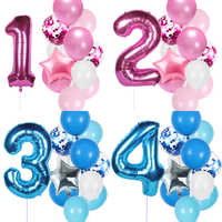 12pcs number balloons set baby boy girl birthday party decorations kids 40inch number balloon baby shower foil number baloon