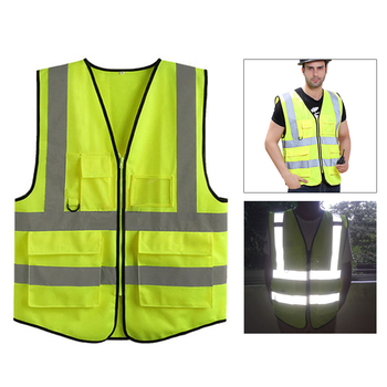 High visibility reflective safety vest safety Clothing work reflective vest multi pockets workwear safety waistcoat men unisex car motorcycle reflective safety clothing high visibility safety reflective vest warning coat reflect stripes tops jacket