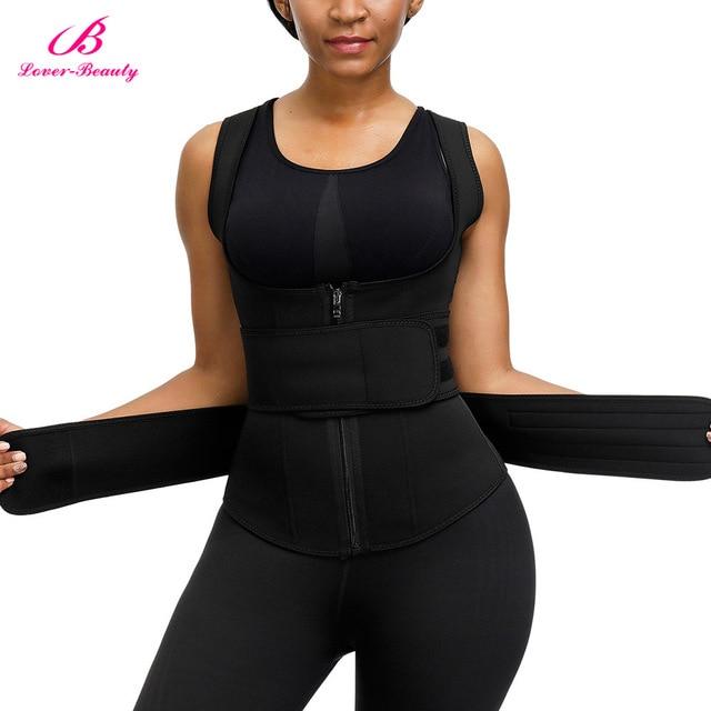 Lover Beauty Women Neoprene Waist Trianer Vest Double Waist Belt Slimming Corset Sauna Sweat 9 Steel Boned Body Shaper 3