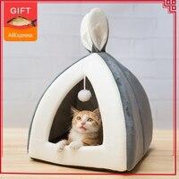 Горячая Распродажа, домашняя кровать для кошек, теплый маленький домик для кошек, собак, гнездо, складная кошачья пещера, милые спальные ков...