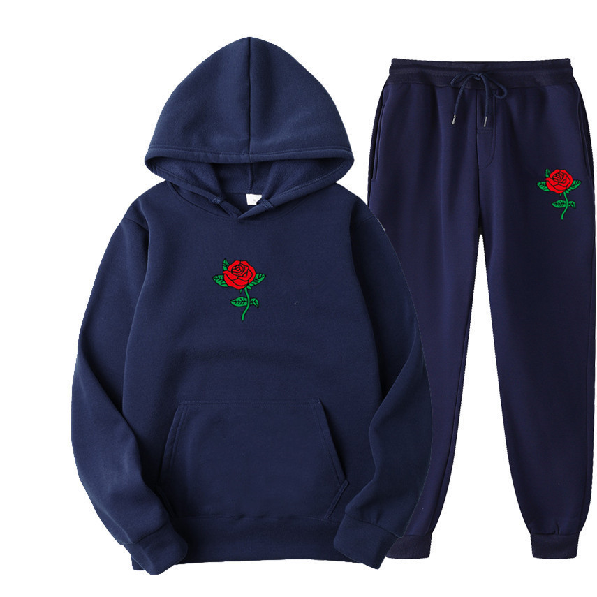 Suits Tracksuits Men Harajuku Rose Flower Print  Hoodies Winter Sweatshirt Casual 2-piece Set Jogger Pants+Pullovers Streetwear (20)