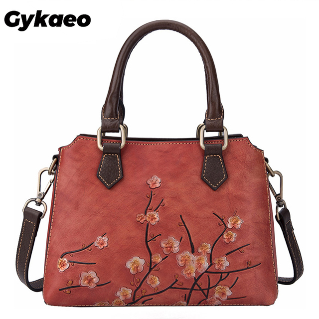 Ladies Cowhide Leather Floral Bags