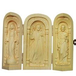 Статуя Иисуса из цельного дерева, деревянная ручная работа, католическая реликвия, христианские подарочные украшения, церковные принадлеж...