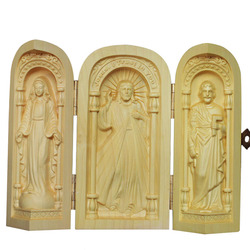 Solid wood Jesus Our Lady Statue, Wooden hand-carved Catholic Reliquary, Christian gift ornaments ,Church Supplies