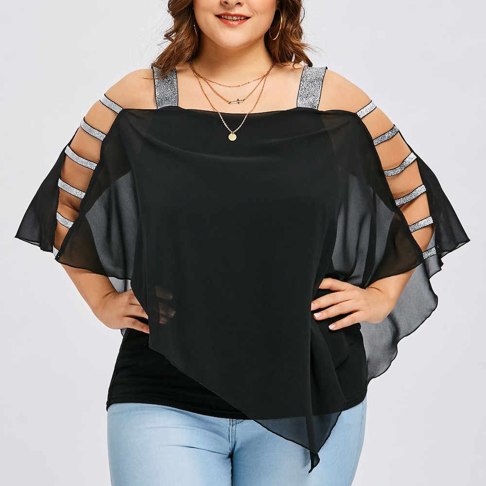 40 * Vrouwen Zomer Asymmetrische Blouses Plus Size Ladder Cut Overlay Blouse Shirts Drie Kwart Vierkante Hals Off Shoulder Top