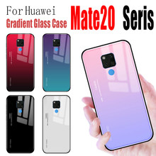 For Huawei mate 20 x 20pro case Gradient glass shell protection huavei huawai mate20 mate20pro matex20 cover with Anti-scratch(China)