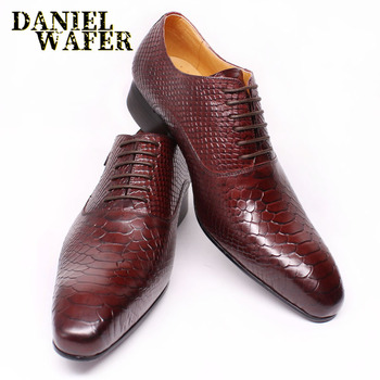 Fashion Men Leather Shoes Snake Skin Prints Men Office Dress Classic Style Burgundy Blue Lace Up Pointed Toe Oxford Shoes Men men leather shoes snake skin prints mens business dress classic style brown black lace up pointed toe shoes for men oxford shoes