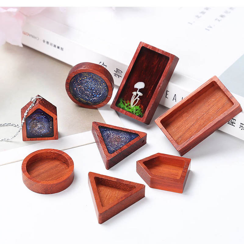 1 PCS DIY Handmade Epoxy Resin Geometry Solid Wood Rosewood Frame Crafts For Placing Photo Pendant Jewelry Material