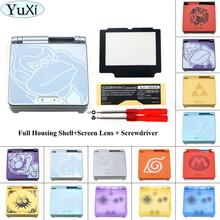 YuXi Cartoon Transparent Clear For GBA SP For Nintend Gameboy Housing Case Cover Replacement Full Housing Shell For Advance SP