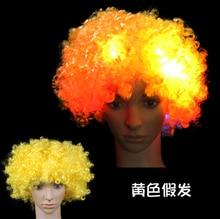 Светящийся головной убор шляпа взрывчатка голова парик светодиод вспышка головной убор клоун парик вентиляторы принадлежности взрослый вечеринка представление желтый