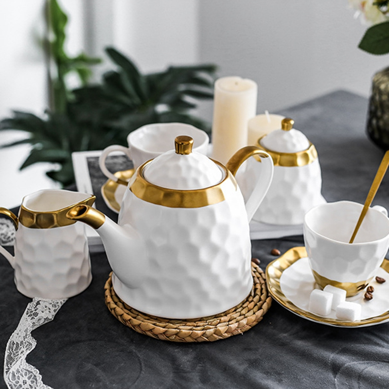 Ceramic Coffee Cup Set Simple Afternoon Teacup Tea Set with European Light Luxury Household Water Cup Teapot for Drinkware - 6