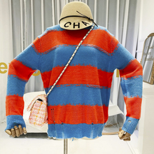 2019 Autumn New Loose Knitted Sweater Striped Hole Winter Items Long Sleeve Women Sweaters and Pullovers fashion