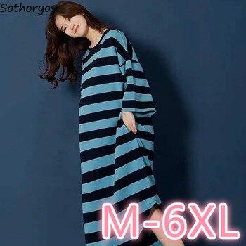 Ночные рубашки женские полосатые с буквенным принтом Свободная Домашняя одежда для беременных Базовая Повседневная Милая Пижама Мягкая Роба 6XL