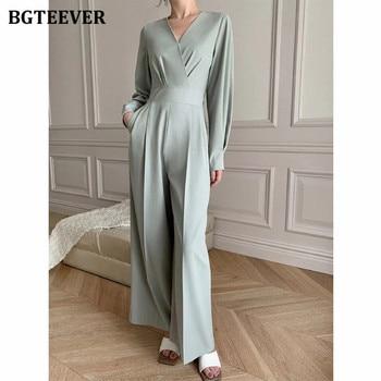 BGTEEVER Office Ladies V-neck Full Sleeve Women Jumpsuits Elegant Slim Waist Wide Leg Loose Rompers Female Playsuits 2021 Spring 2