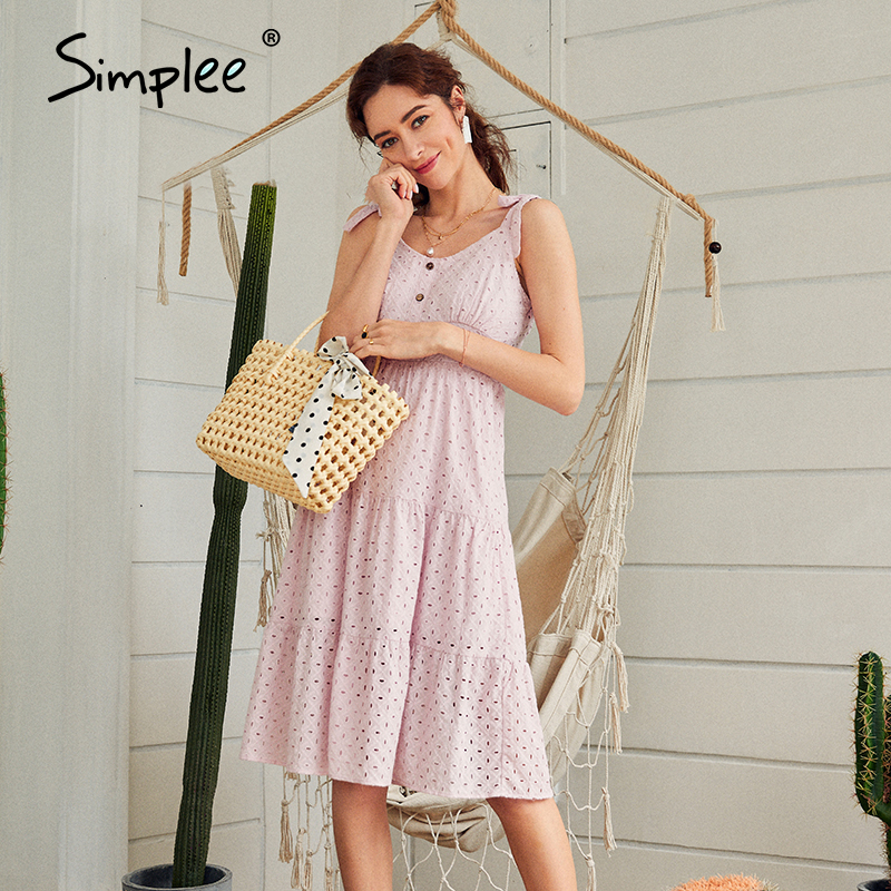 Simplee Casual white women summer beach dress Bow knot spaghetti embroidery female midi dress backless holiday