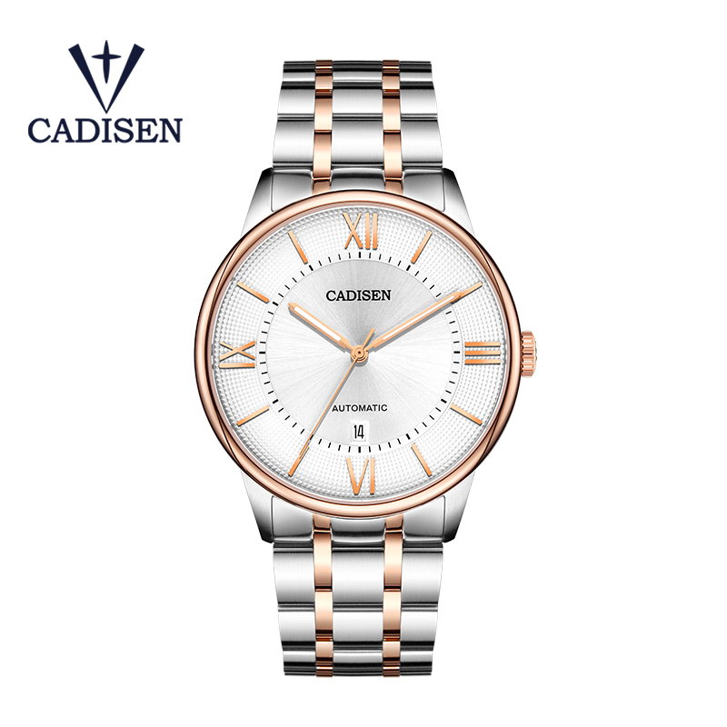 CADISEN Men Mechanical Watch Miyota 8215 Movement Automatic Luminous Waterproof Stainless Steel Male Clock Relogio Masculino in Mechanical Watches from Watches