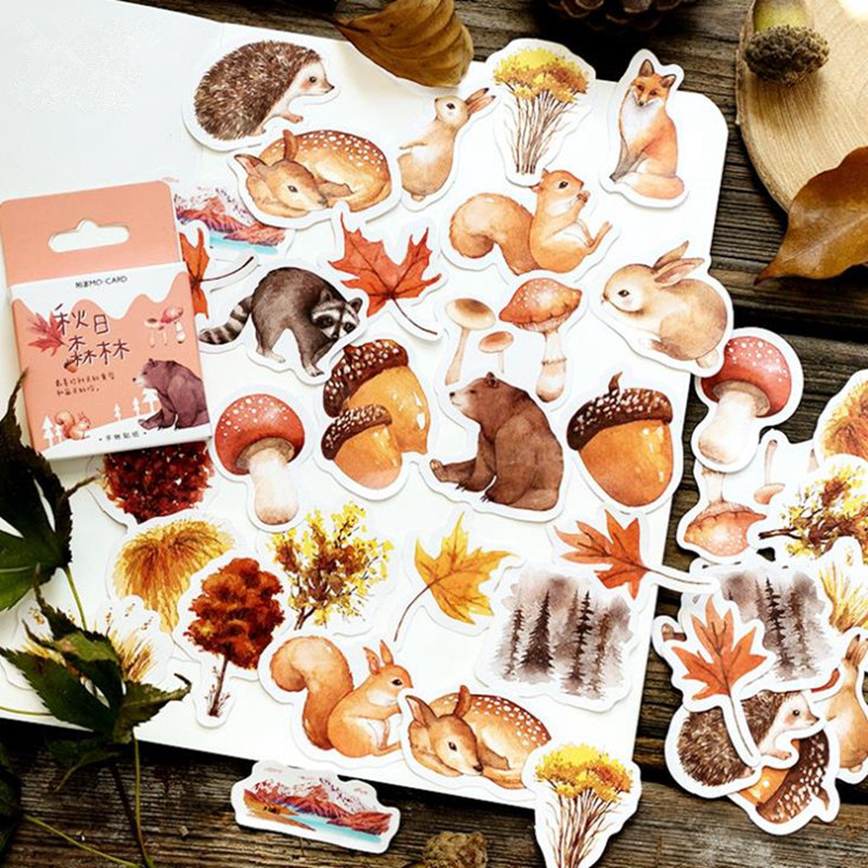 46 Pcs/box Autumn Of Forest Diary Sticker Kawaii Planner Scrapbooking Sticky Stationery Journal Stickers School Office Supplies