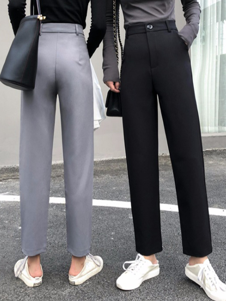 Pants Female Spring 2019 New Style WOMEN'S Dress Korean-style High-waisted Slimming Straight-leg Pants Loose-Fit Versatile Suit