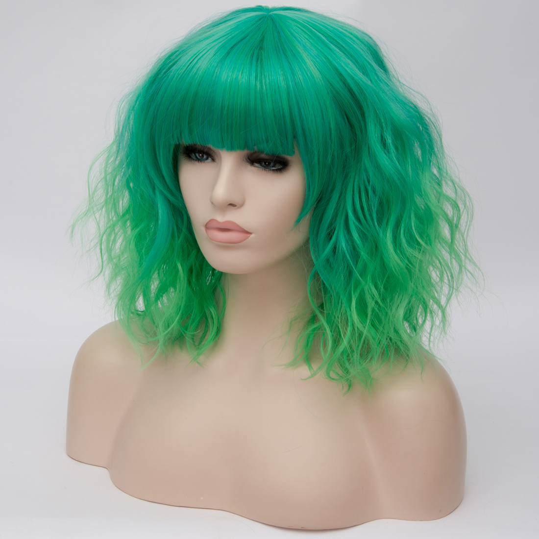 H5e0958f68cee452184f17faf5064f65f6 - Similler Short Synthetic Wig for Women Cosplay Curly Hair Heat Resistance Ombre Color Blue Purple Pink Green Orange Two Tones