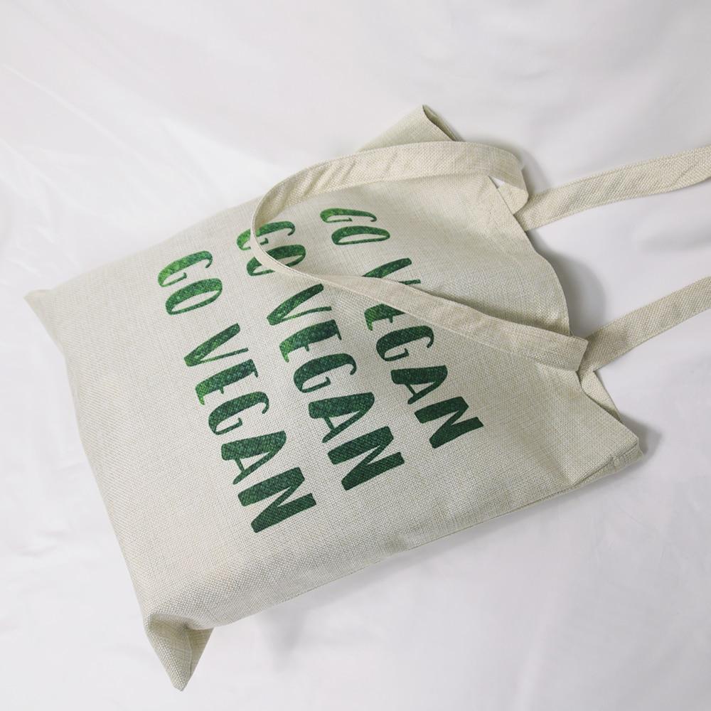 Big Capacity Linen Fabric Casual Totes Reusable Shopping Bag Go Vegan Outdoor Beach Bag