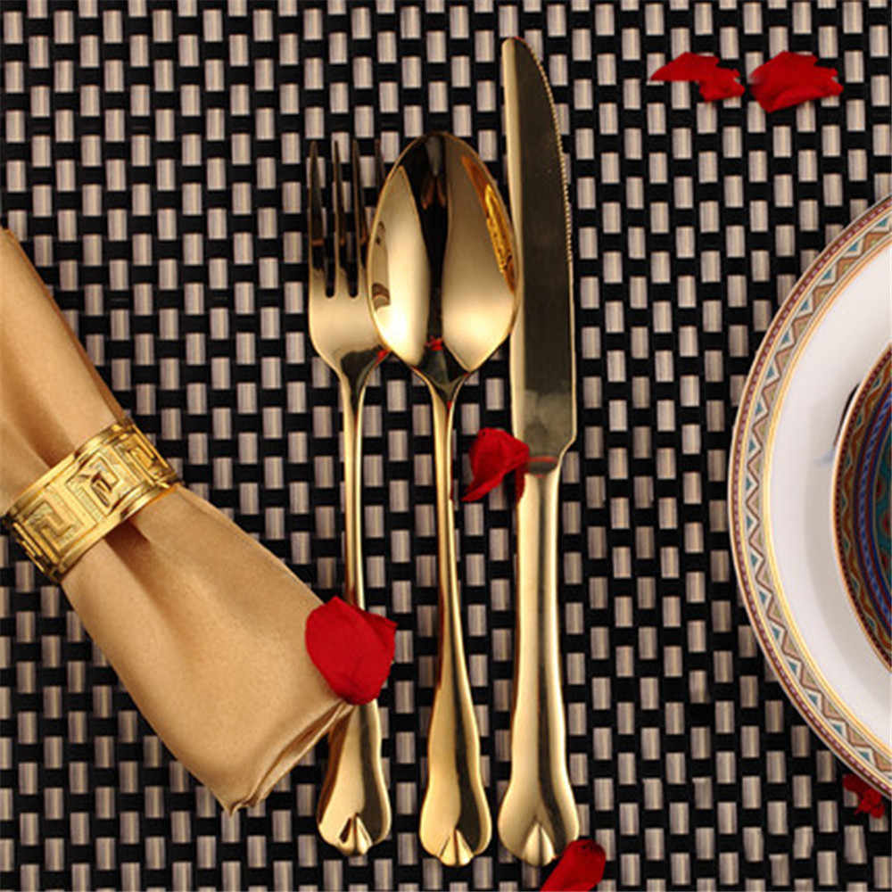 Luxury Gold ชุดสแตนเลสโลหะมีดส้อมชุดช้อนส้อมขนมห้องครัว Dinner อาหารอาหารเย็น Home Decor 3 Pcs