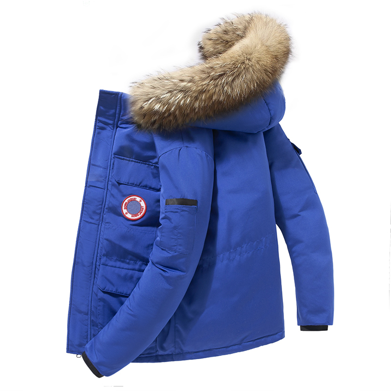 90%Down Fashion Fur White Duck Down Coats Men Men's Clothings Men's Sweaters/Coats/Jackets Color: G165 SkyBlue Size: XL