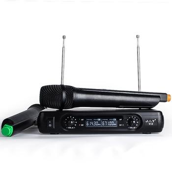 JIY  Wireless Microphones Professional dual Handheld Wireless Microphones Mic Receiver System for disco KTV karaoke computer