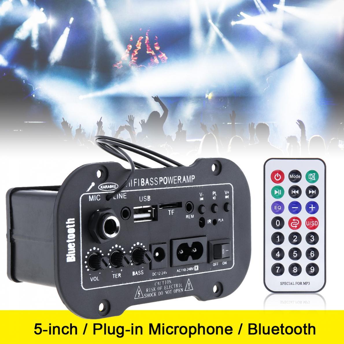 AMPLIFICADOR DE POTENCIA DE Audio para coche Bluetooth de 5 pulgadas, Radio ESTÉREO FM, compatible con micrófono, SD, USB, DVD, MP3, entrada para coche, motocicleta, hogar