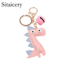 Sitaicery Dinosaur Unicorn Key Chain Leather Bell Keychain Xmas Gifts Women Pendant For Keys Accessories key Rings Metal Trinket wholesale real black blue grey pink python leather key chain customize keychain gift men women xmas family birthday couple gifts