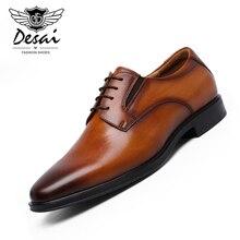 DESAI Brand New Mens Genuine Leather Shoes Business Dress Men Cow Elegant Formal Oxfords Lace-up Wedding