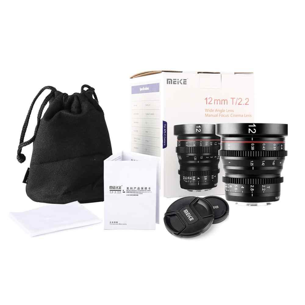 Meike nova lente do cinema MK-12mm t2.2 grande abertura foco manual prime baixa distorção mini cine lente compatível com m43