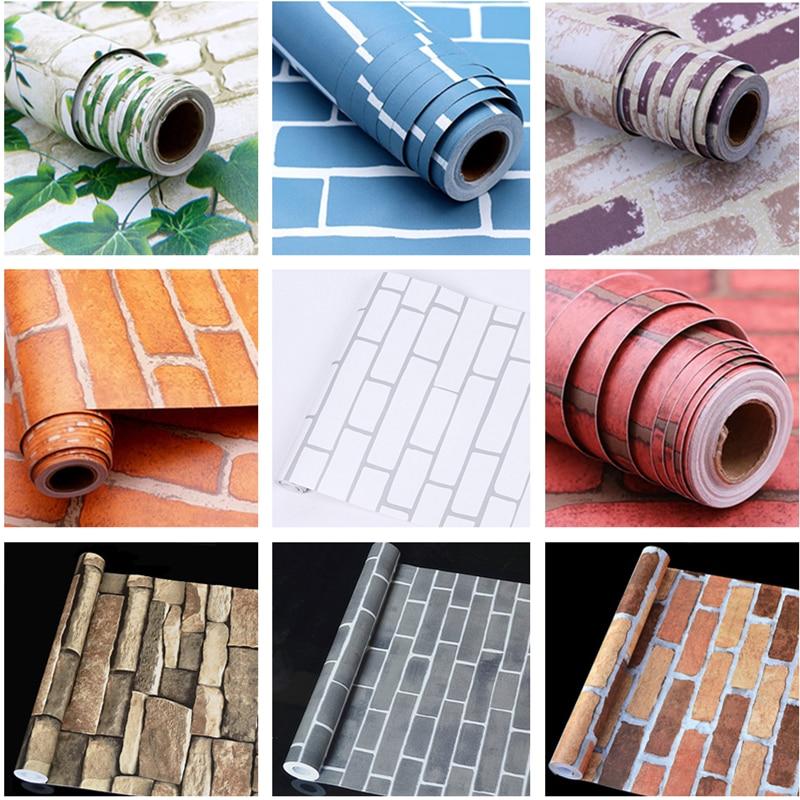 New 10m*45cm PVC Wallpaper Self Adhesive Brick Wallpaper Wall Sticker Furniture Refurbished Waterproof Living Room Bedroom