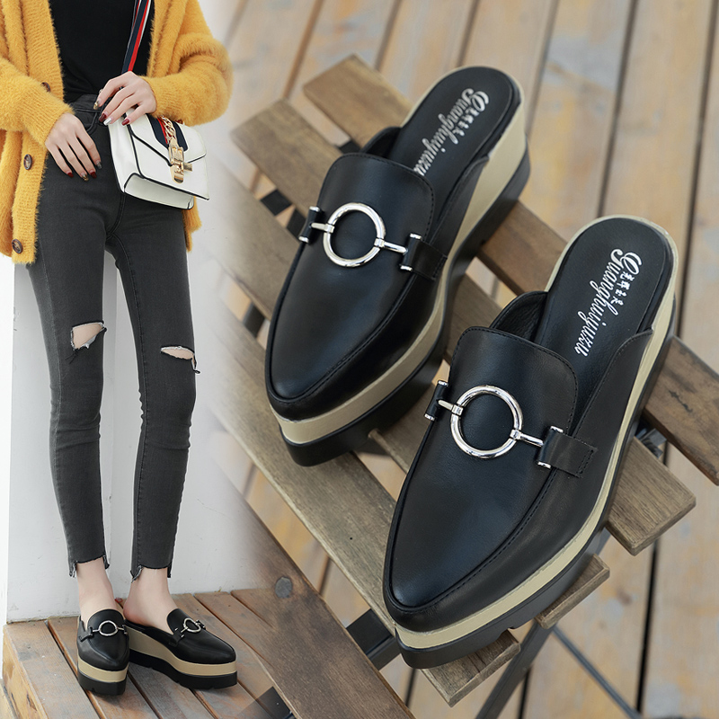 Shoes Women Metal Decoration Platform Mules Pointed Toe Slides Wedges Sandals Slip On Slippers Summer Pumps Casual Zapatos Mujer