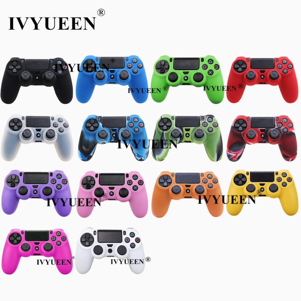 IVYUEEN Soft Silicone Rubber Case For Sony PlayStation Dualshock 4 PS4 DS4 Pro Slim Controller Skin Cover + 2 Thumb Grips Caps image