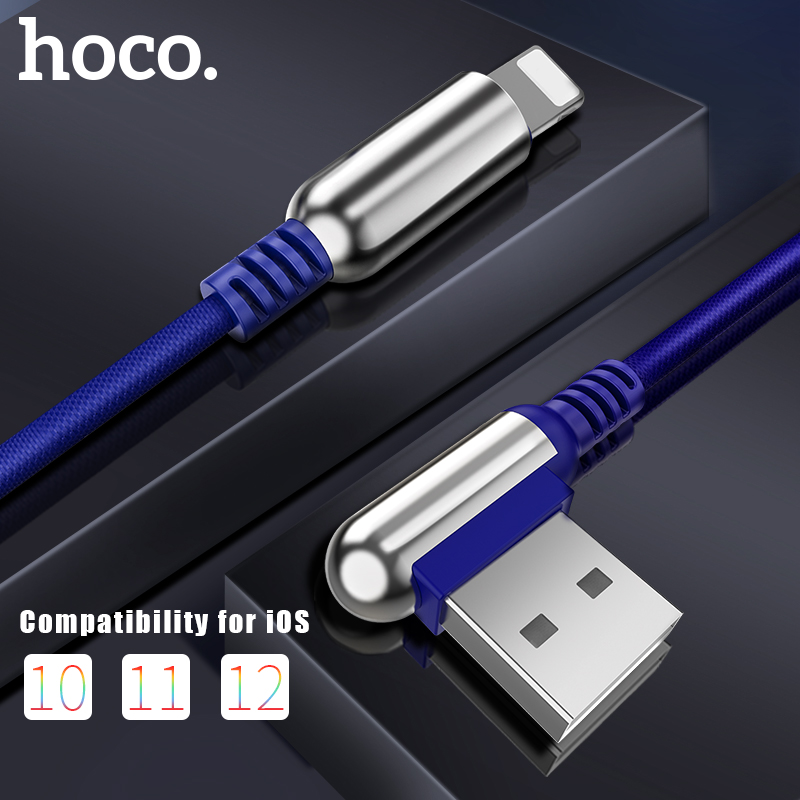 HOCO USB kabel za Apple 2.4A hitro polnjenje cinkove zlitine 90 stopinj za Apple iPhone 8 7 6 11 Pro X XS Max XR iPad Data Sync Wire