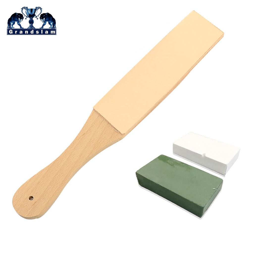 2pcs Wood Handle Barber Leather Sharpening Strop Belt For Straight Razor Shave Beard Kitchen Knife+Polishing Paste Compound