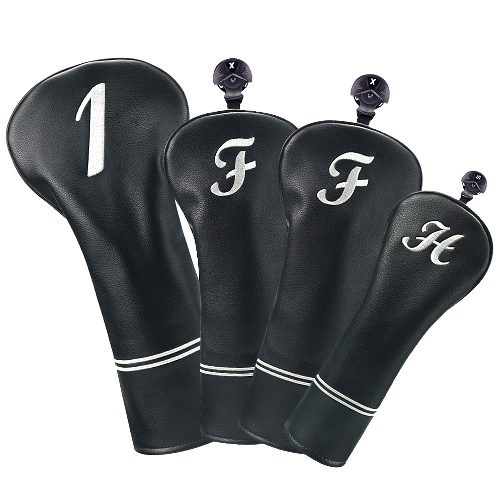 Big Teeth Black Leather Golf Headcover Set Driver Fairway Hybrid Wood Protector Case