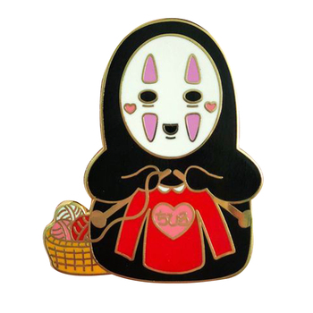 Cute Spirited Away Cartoon Brooches Oops, seems like our no face has found a new hobby - knit you a cute sweater image