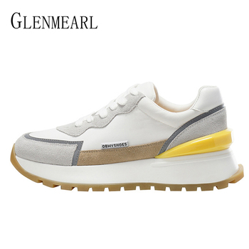 Damskie trampki oryginalne skórzane buty sportowe studentki platforma Sneaker białe czarne buty 2021 wiosna nowe buty wulkanizowane tanie i dobre opinie GLENMEARL GENUINE LEATHER Skóra bydlęca CN (pochodzenie) Mieszkanie (≤1cm) inny GEOMETRIC Adult Na wiosnę jesień Sznurowane