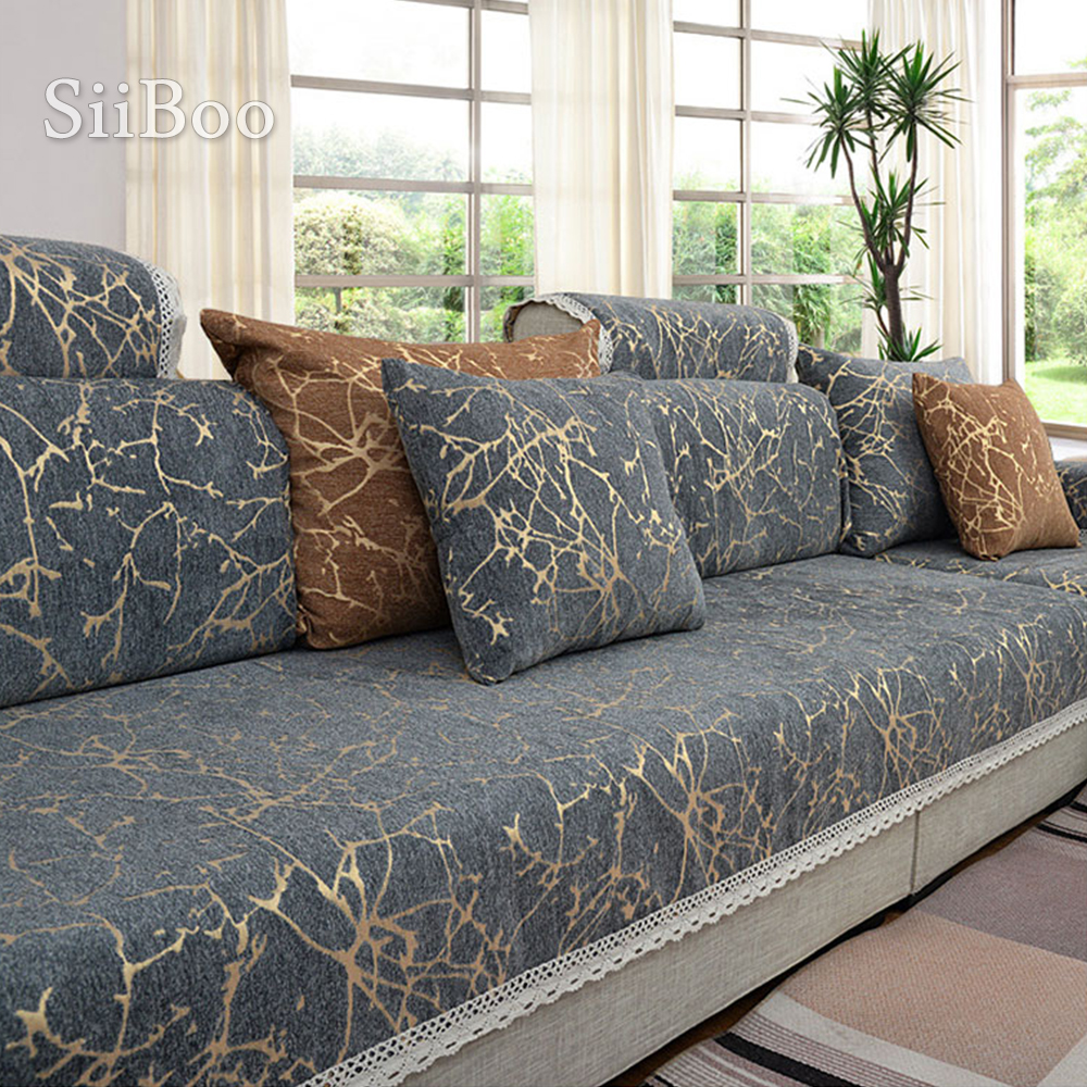 European Style Sky Stripe Jacquard Chenille Sofa Cover Cama Slipcovers For Living Room Furniture Sectional Couch Covers SP4906