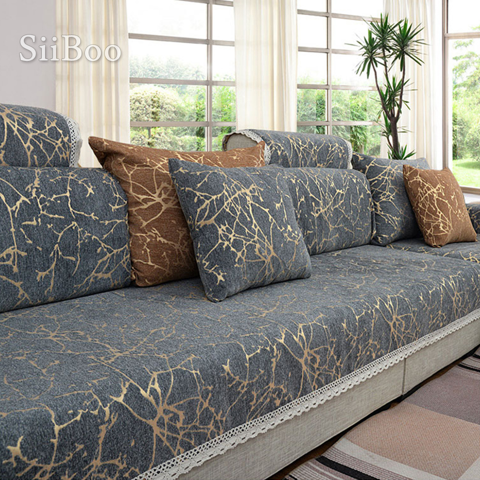 us 8 47 45 off european style sky stripe jacquard chenille sofa cover cama slipcovers for living room furniture sectional couch covers