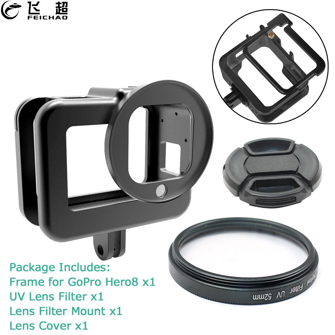CNC Protective Case For GoPro Hero 8 Black Aluminum Frame Cage Mount Hot Shoe + UV Lens Filter For Go Pro 8 Camera Accessories