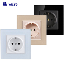 Mivolvo Power socket crystal tempered glass panel EU standard 1/2gang wall sticker installation socket livolo new power socket eu standard cherry wood outlet panel 2gang wall sockets with touch switch c701 21 c7c2eu 21