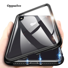Oppselve Metal Magnetic Case For iPhone 11 Pro Max XR XS MAX X Tempered Glass Magnet Case Cover For iPhone 8 7 6 S Plus Capinhas цена и фото