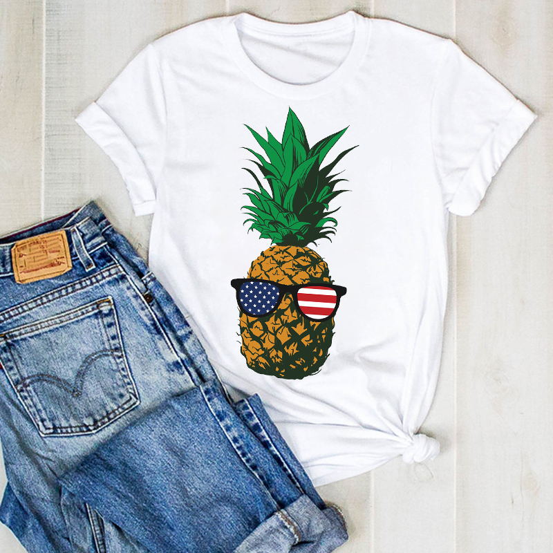 Women Lady Pineapple USA Flag Print Fruit Beach Ladies Summer T Tee Tshirt Womens Female Top Shirt Clothes Graphic T-shirt