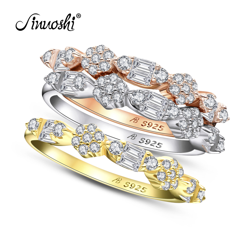 AINUOSHI Fashion 925 Sterling Silver Half Eternity Engagement Ring Sets Simulated Diamond Wedding Silver 3 Pieces Rings  Jewelry