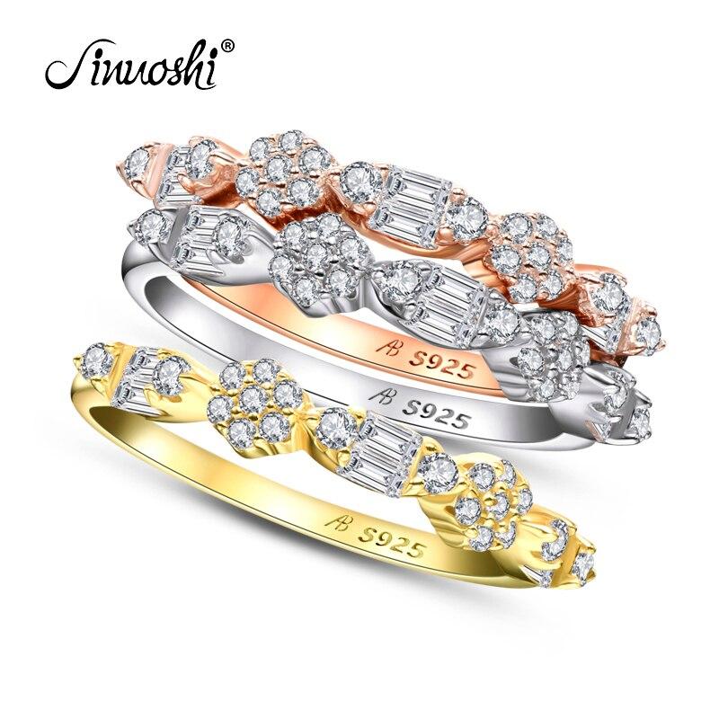 AINUOSHI mode 925 argent Sterling demi éternité bague de fiançailles ensembles simulé diamant mariage argent 3 pièces anneaux bijoux